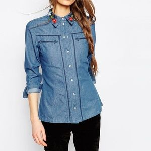 ASOS Denim Shirt Embroidered Collar